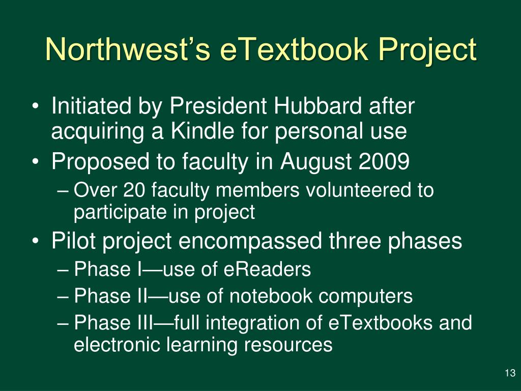 Northwest's eTextbook Project