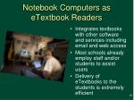 notebook computers as etextbook readers
