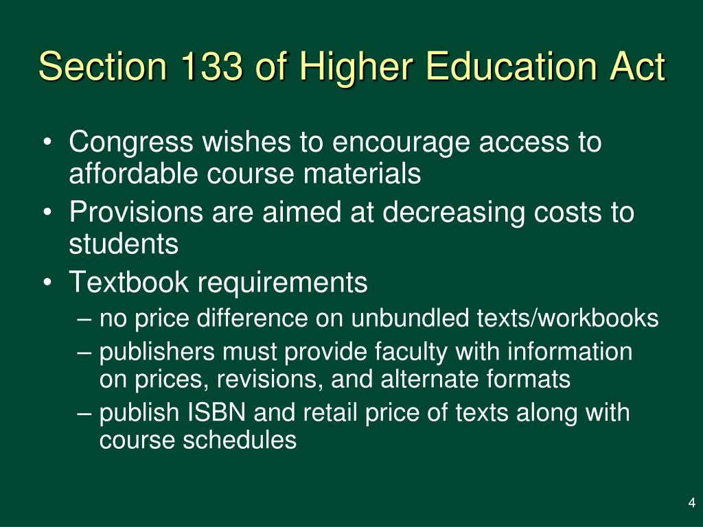 Section 133 of Higher Education Act