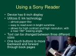 using a sony reader