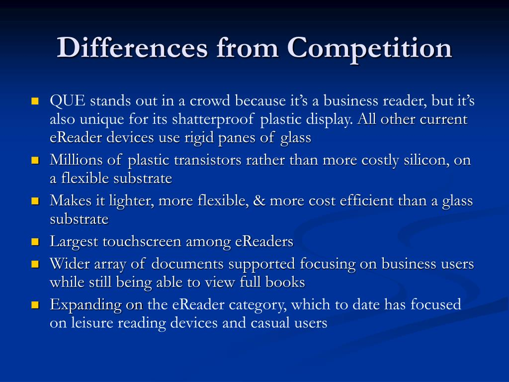 Differences from Competition