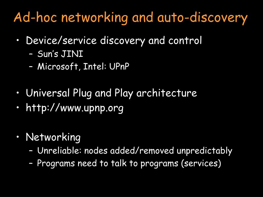 Ad-hoc networking and auto-discovery