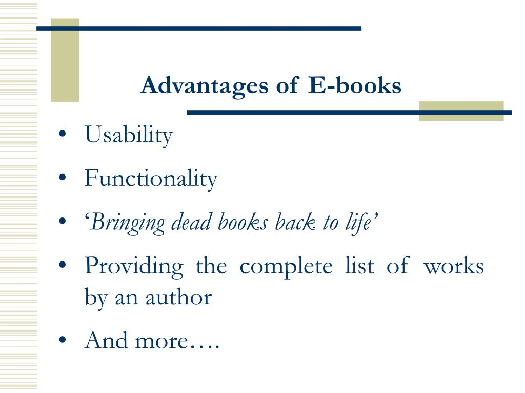 Advantages of E-books