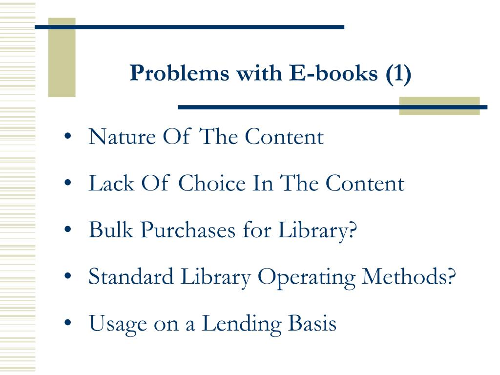 Problems with E-books (1)