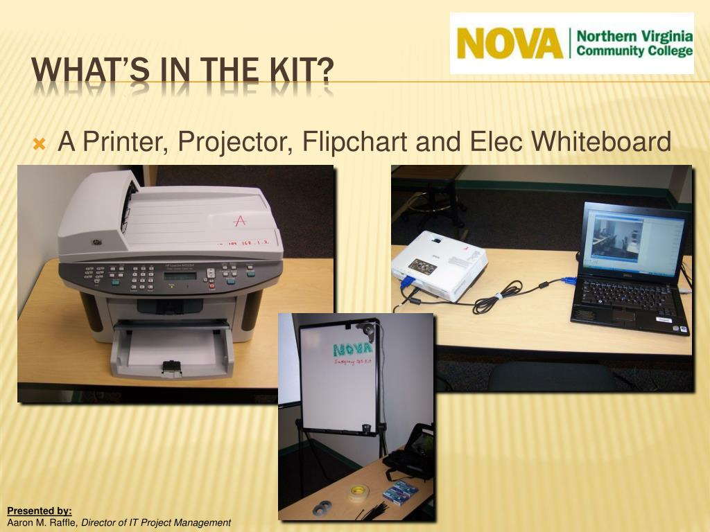A Printer, Projector, Flipchart and