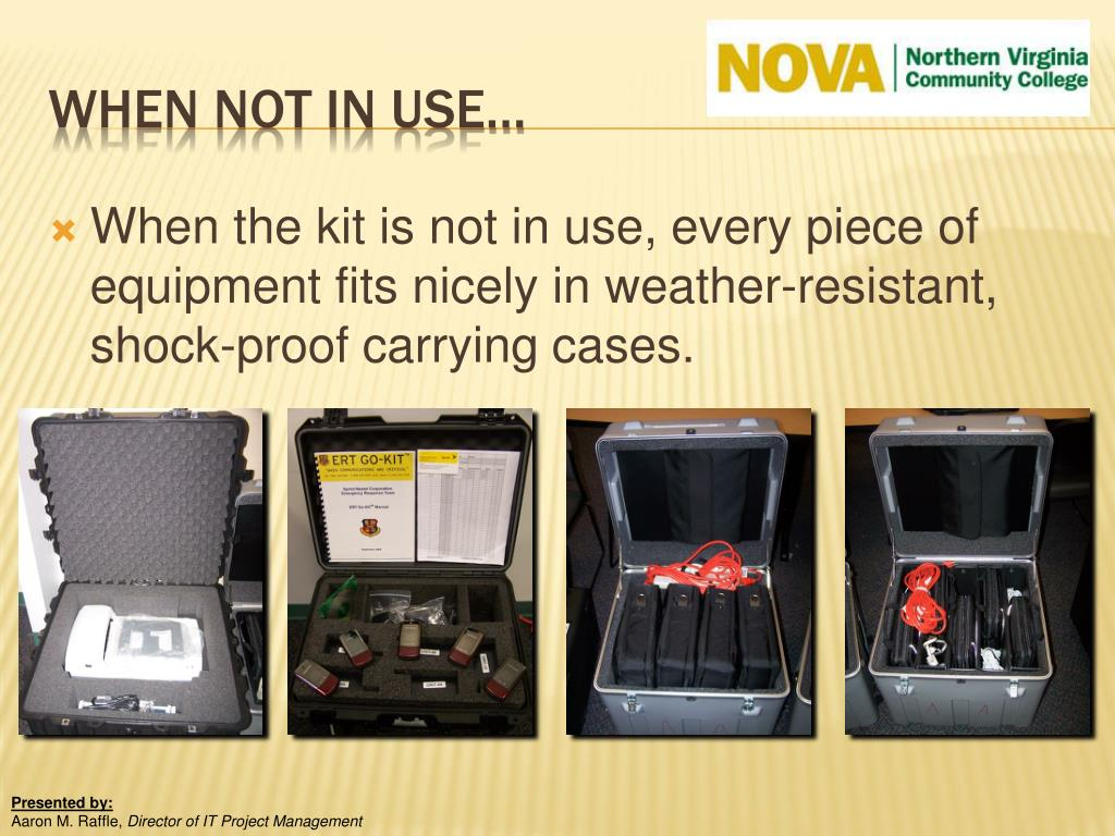 When the kit is not in use, every piece of equipment fits nicely in weather-resistant, shock-proof carrying cases.
