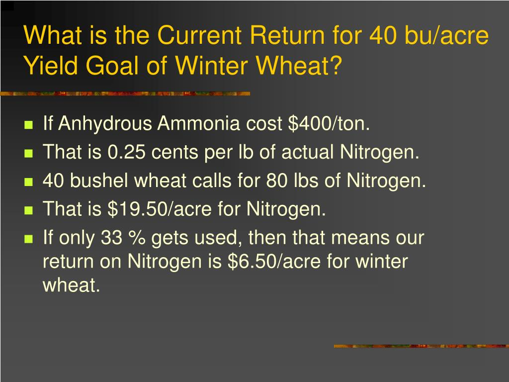 What is the Current Return for 40 bu/acre Yield Goal of Winter Wheat?