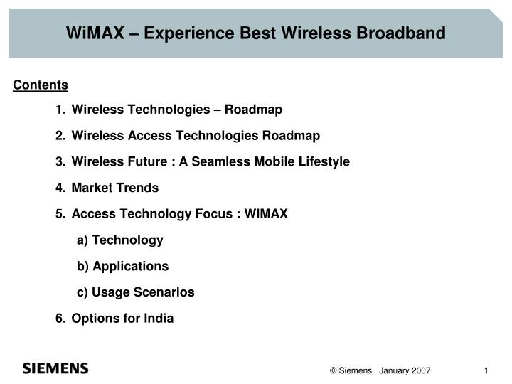 Wimax experience best wireless broadband