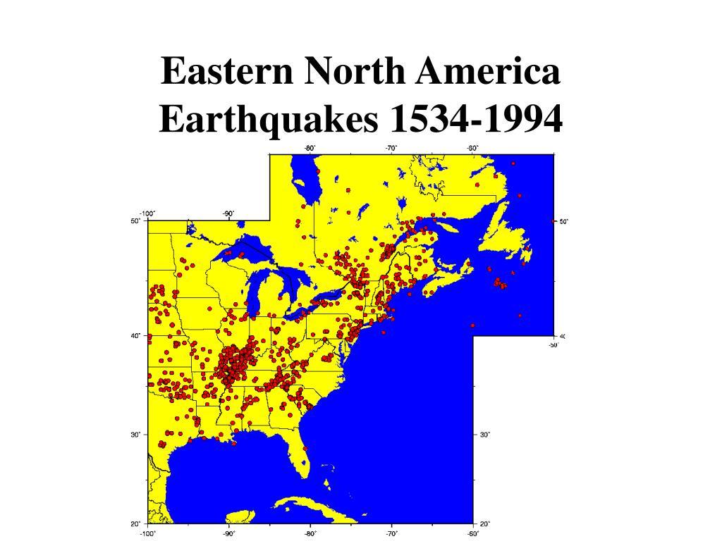 Eastern North America Earthquakes 1534-1994