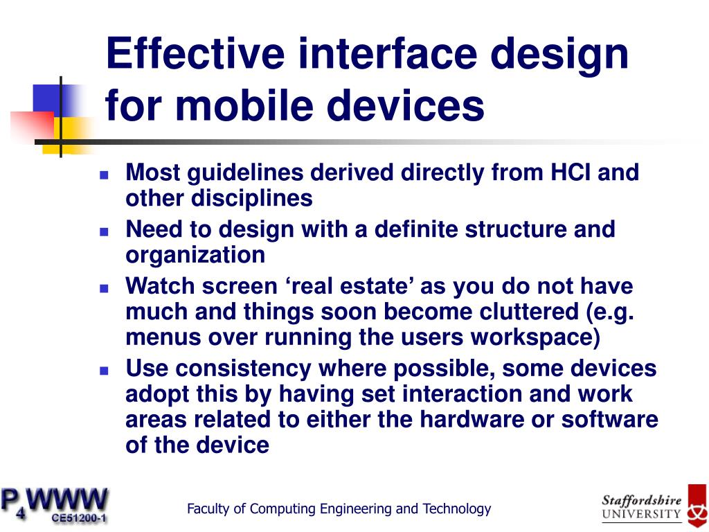 Effective interface design for mobile devices