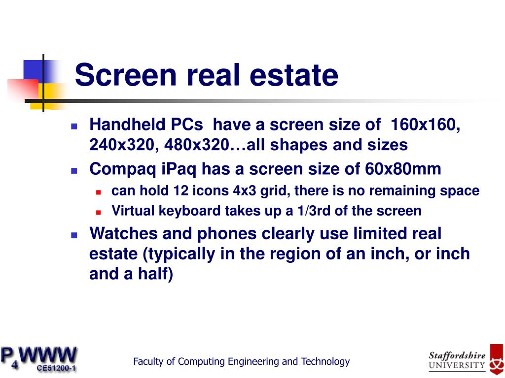 Screen real estate