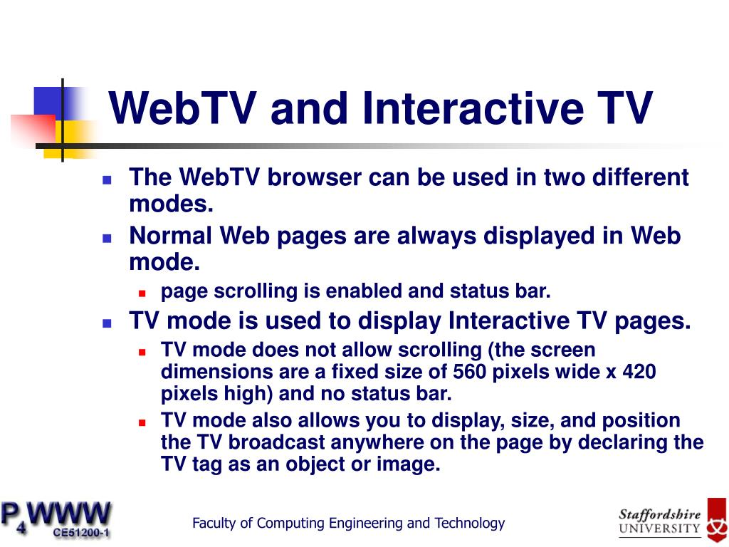 WebTV and Interactive TV