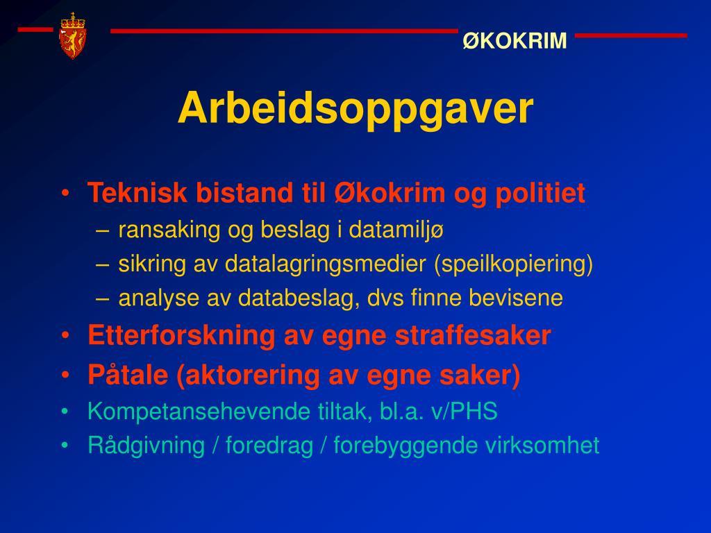 Teknisk bistand til Økokrim og politiet