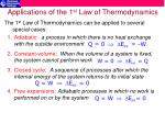 applications of the 1 st law of thermodynamics