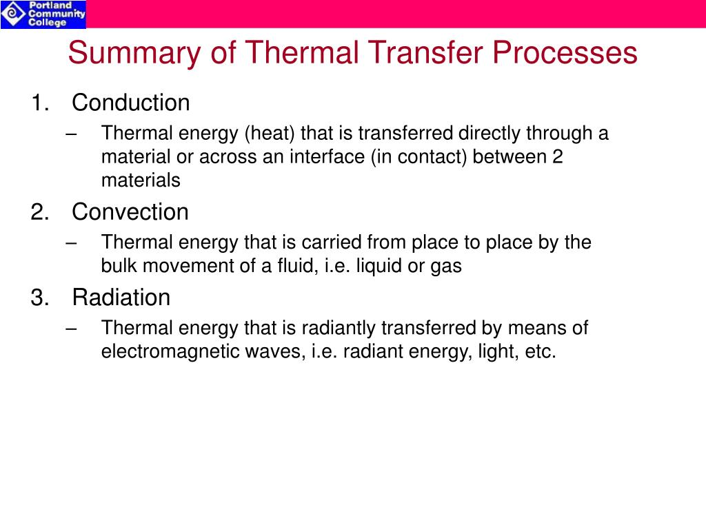 Summary of Thermal Transfer Processes