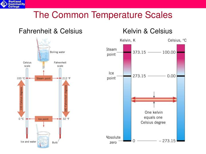 The common temperature scales