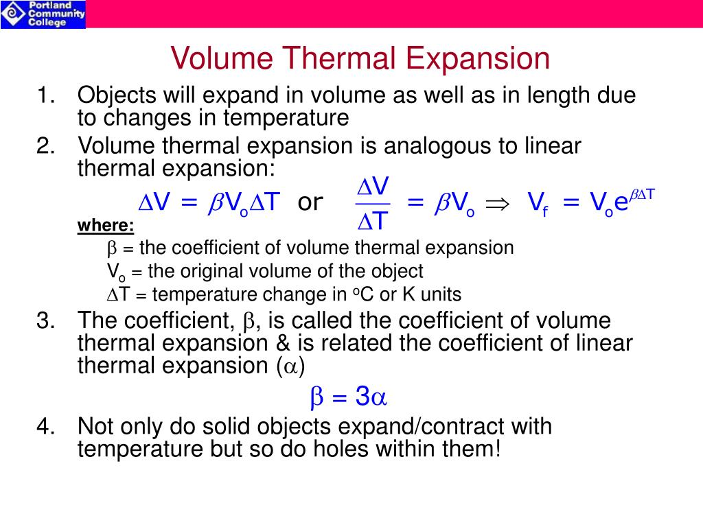 Volume Thermal Expansion