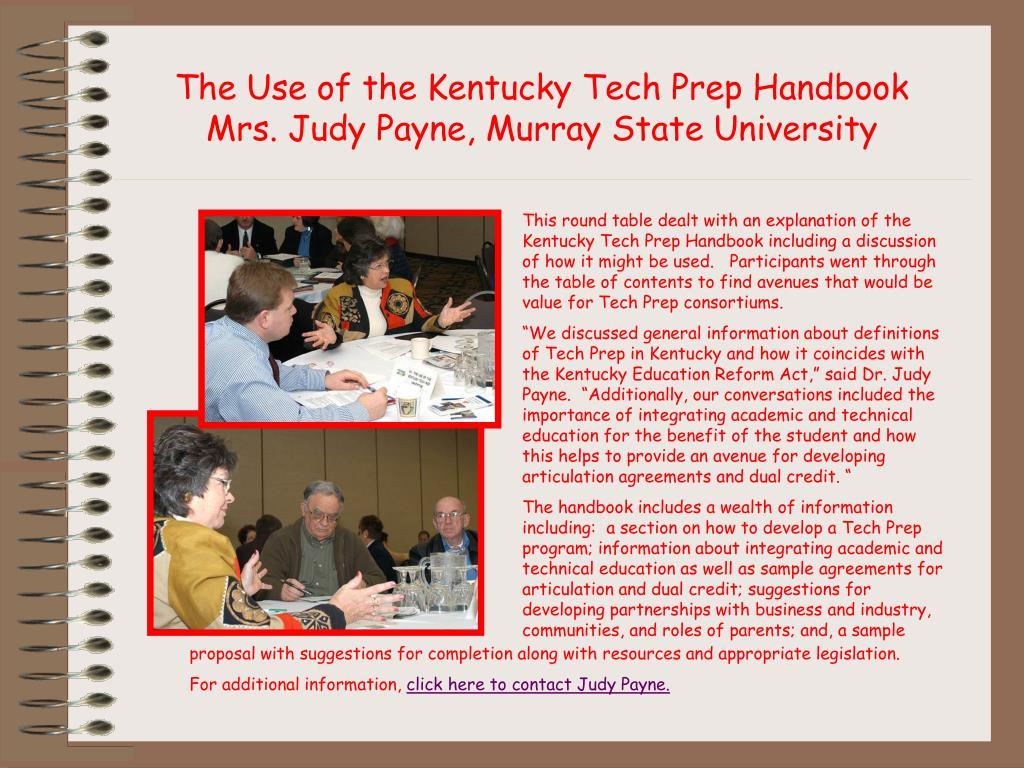 The Use of the Kentucky Tech Prep Handbook