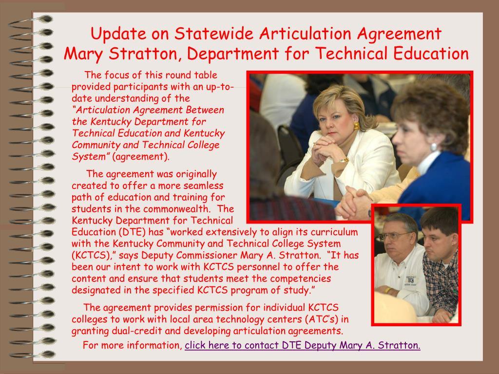 Update on Statewide Articulation Agreement