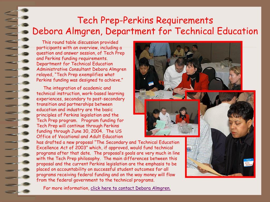 Tech Prep-Perkins Requirements