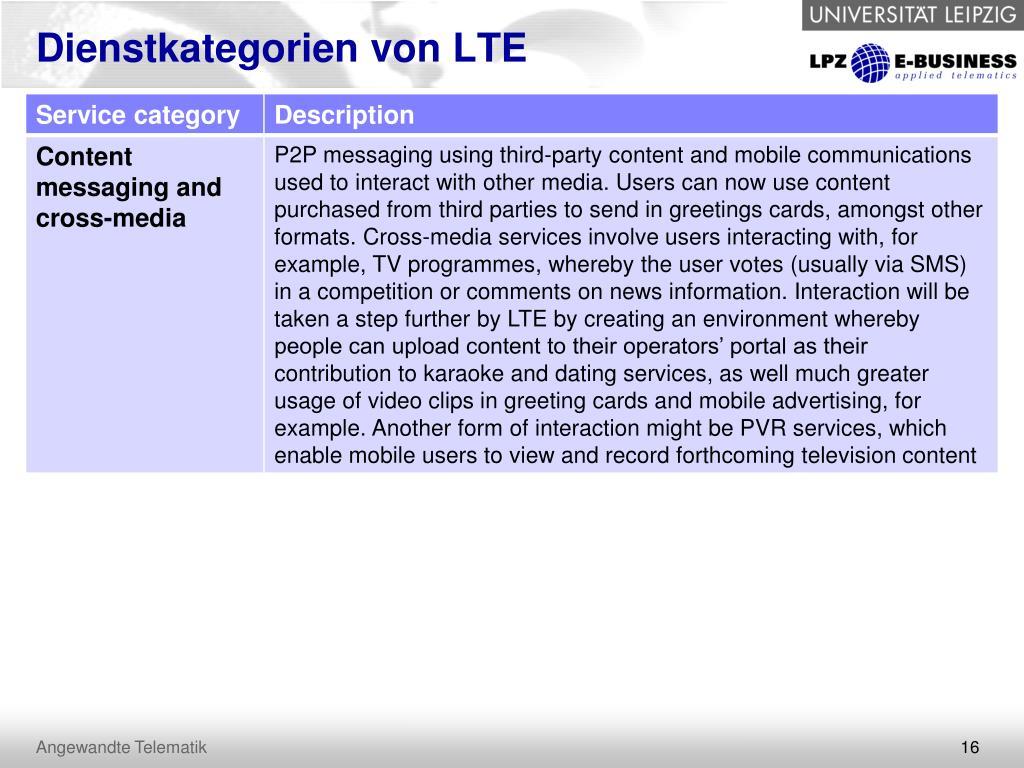 Dienstkategorien von LTE