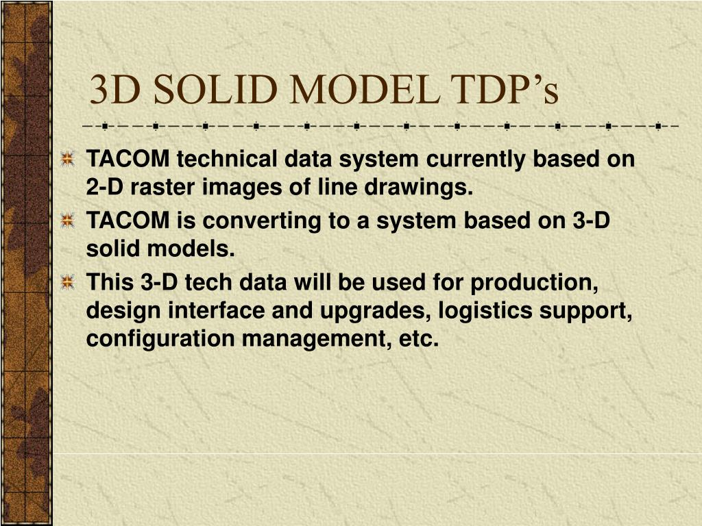 3D SOLID MODEL TDP's