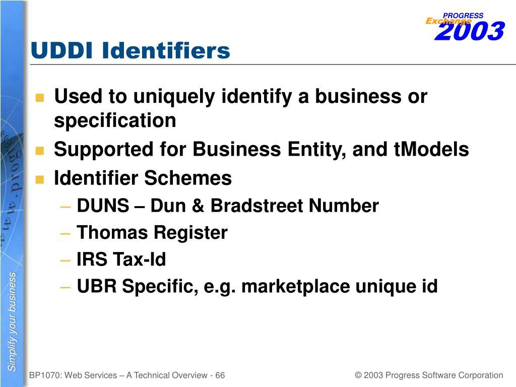 UDDI Identifiers