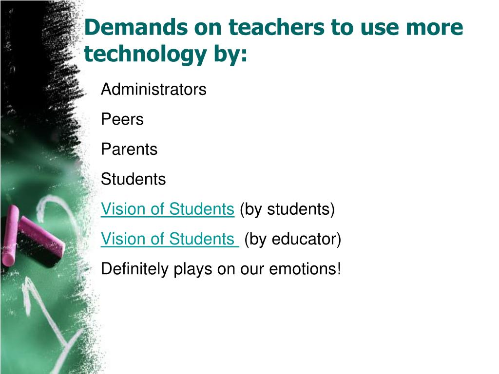Demands on teachers to use more technology by: