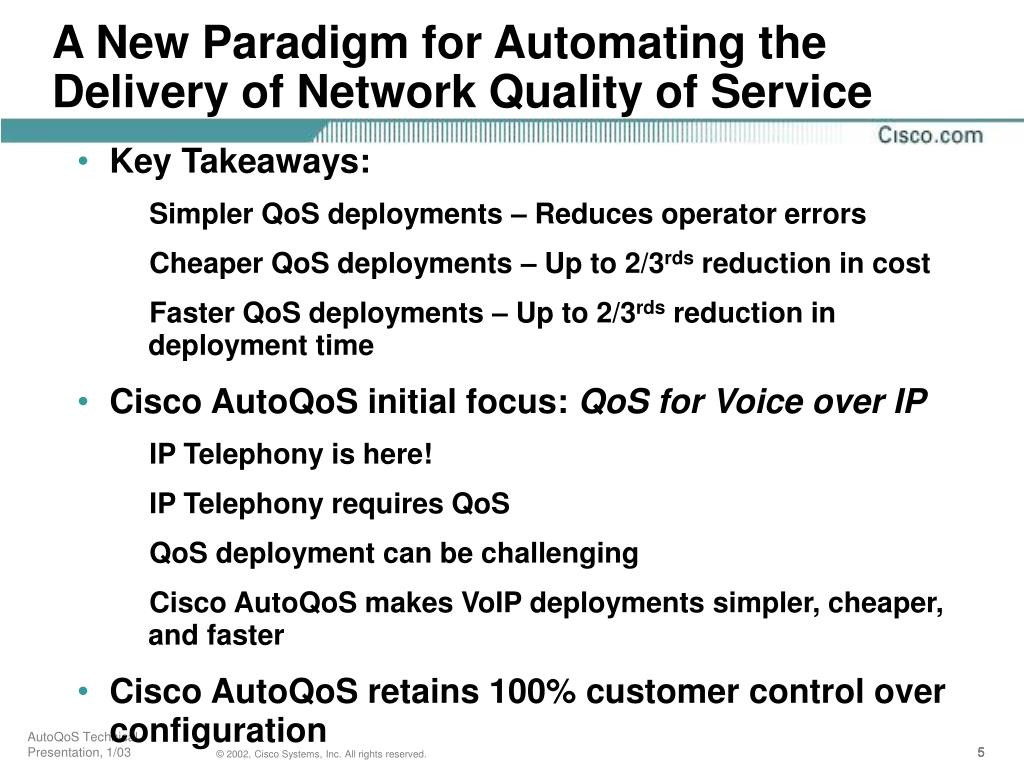 A New Paradigm for Automating the Delivery of Network Quality of Service