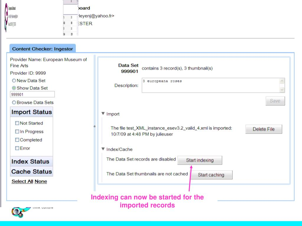 Indexing can now be started for the imported records