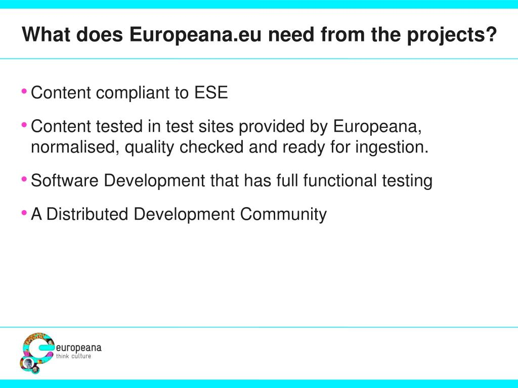 What does Europeana.eu need from the projects?