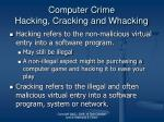 computer crime hacking cracking and whacking