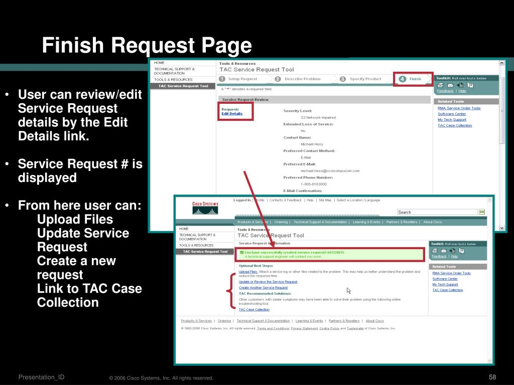 User can review/edit  Service Request details by the Edit Details link.