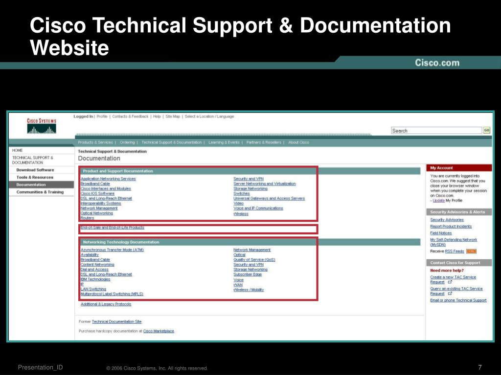 Cisco Technical Support & Documentation Website