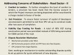 addressing concerns of stakeholders road sector ii