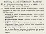 addressing concerns of stakeholders road sector