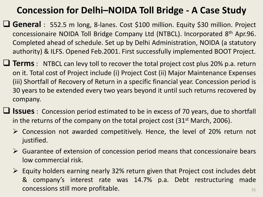 Concession for Delhi–NOIDA Toll Bridge - A Case Study