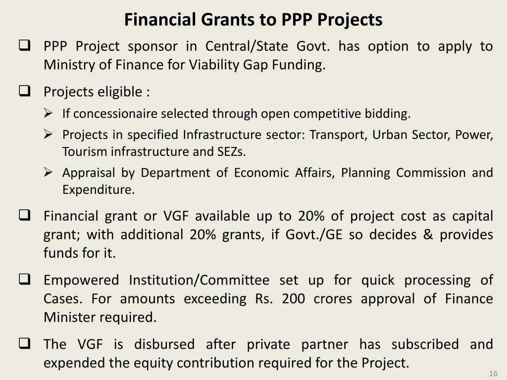 Financial Grants to PPP Projects