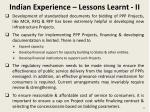 indian experience lessons learnt ii
