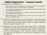 indian experience lessons learnt