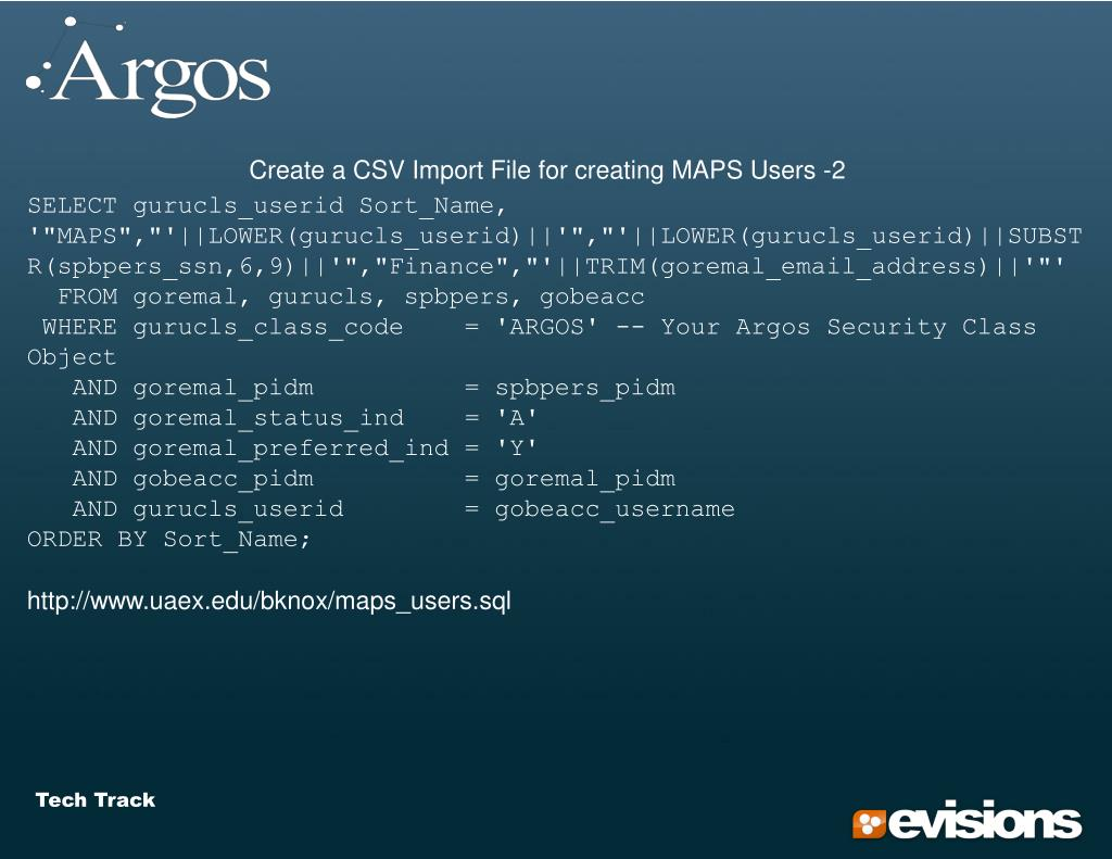 Create a CSV Import File for creating MAPS Users -2