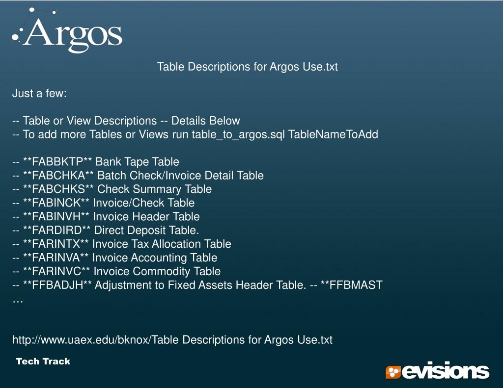 Table Descriptions for Argos Use.txt