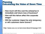 planning calculating the value of down time