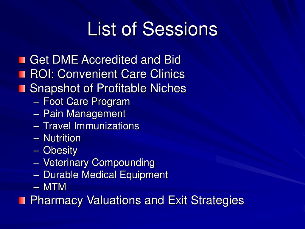 List of Sessions