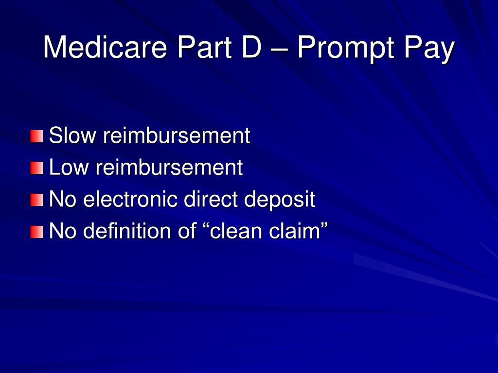 Medicare Part D – Prompt Pay