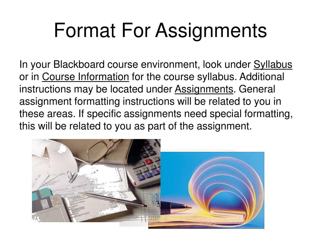 Format For Assignments