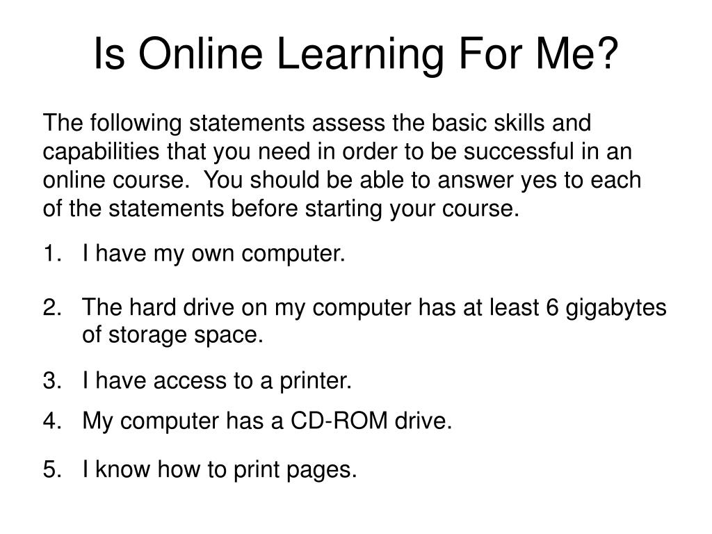 Is Online Learning For Me?
