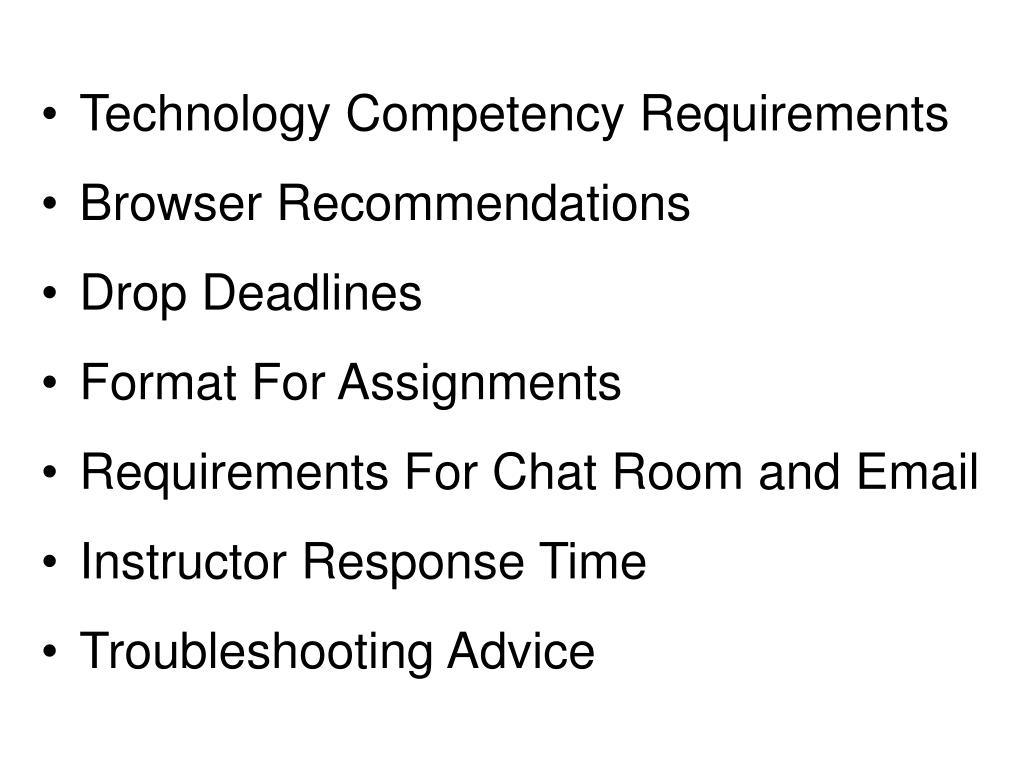 Technology Competency Requirements