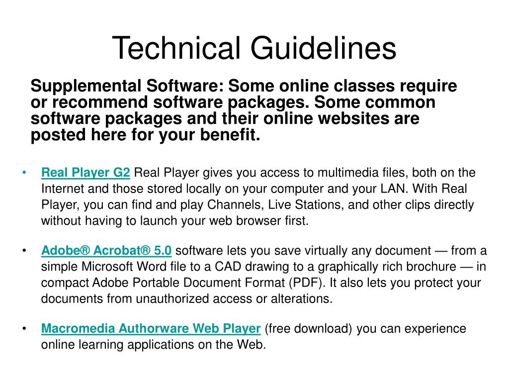 Technical Guidelines