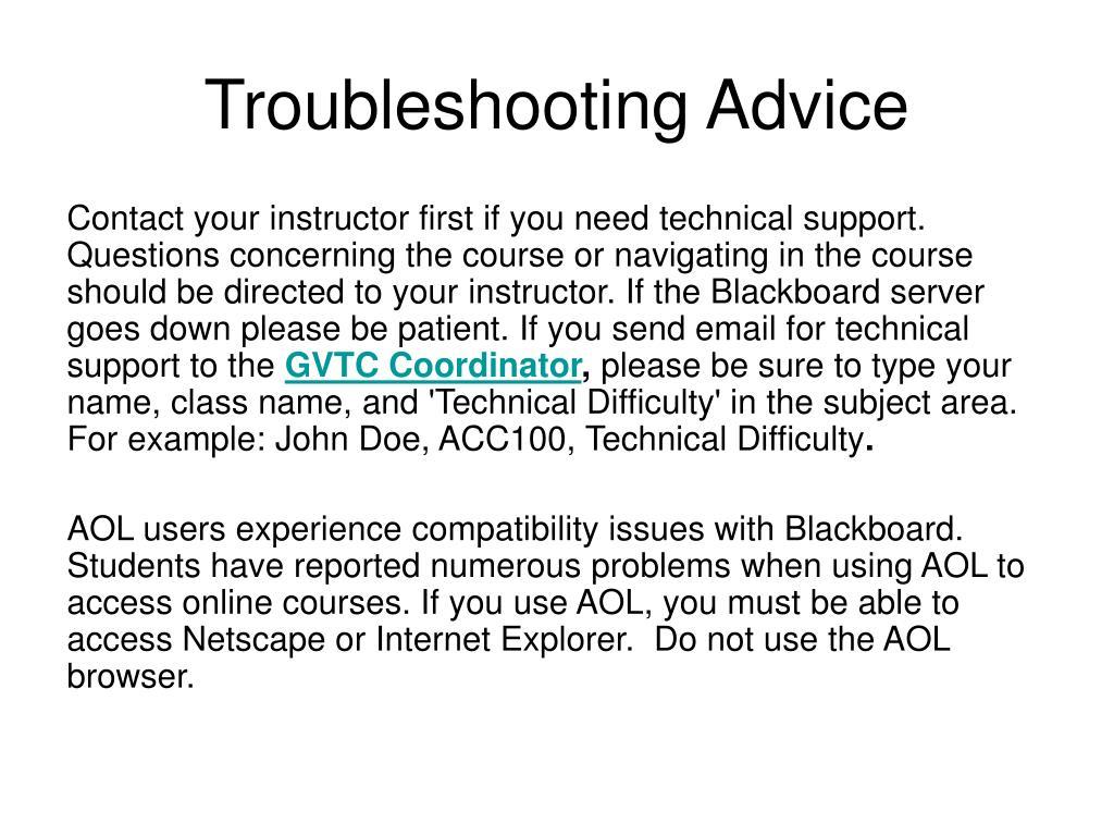 Troubleshooting Advice